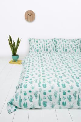 Housse de couette et taies d'oreillers motif cactus URBAN OUTFITTERS LIT DOUBLE