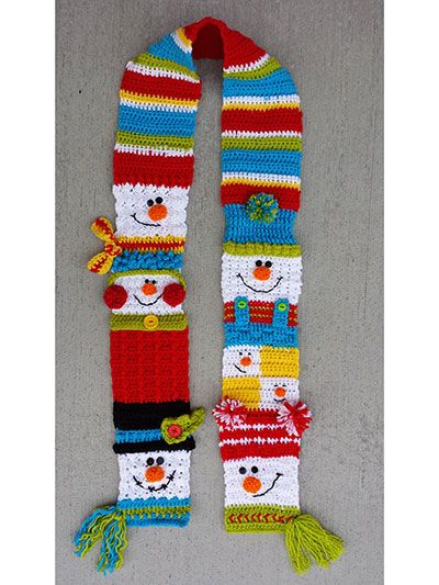 Do you want to build a snowman?   This adorable scarf is multiple snowmen made using worsted-weight yarn. It's perfect for a cold winter day and will be a favorite of young and old alike.