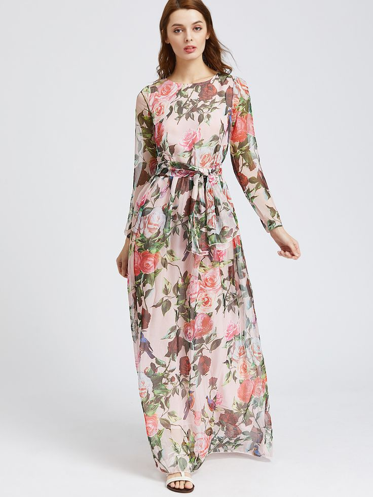 Multicolor Floral Print Chiffon Long Sleeve Dress