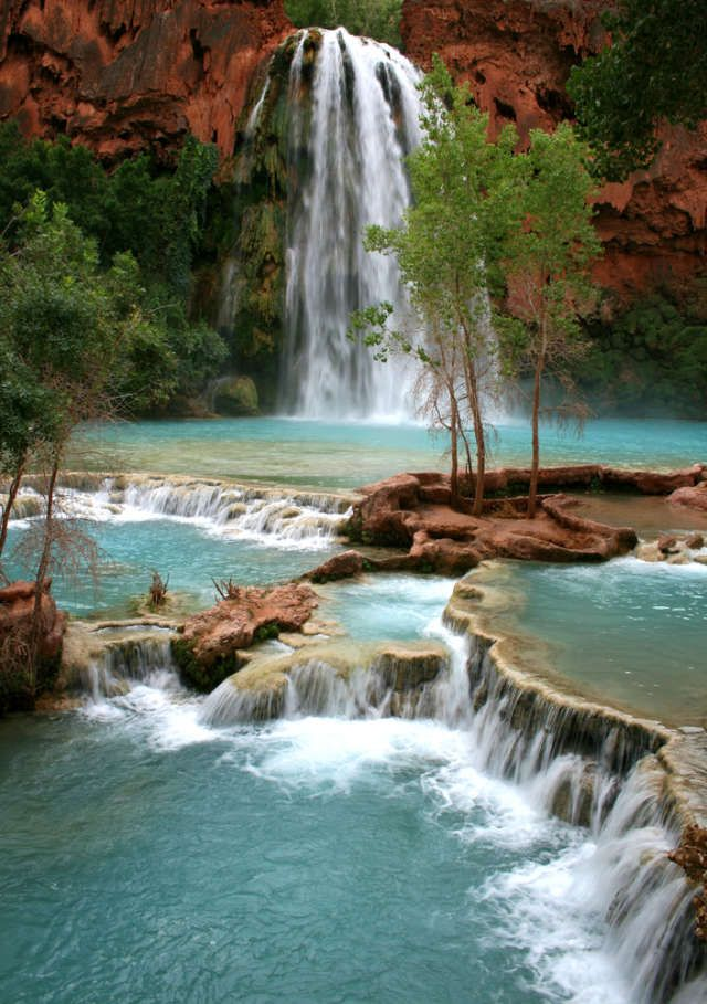 One of the best waterfall hikes -- Havasu Falls just outside Grand Canyon National Park.