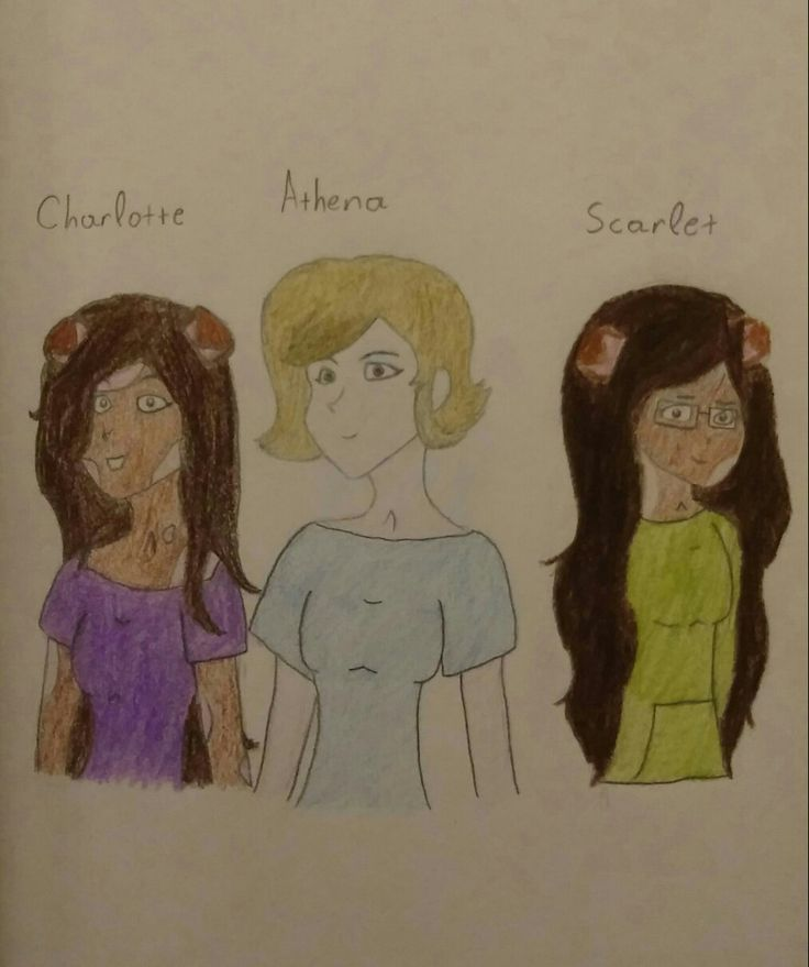 My OC Athena meets Rosa Jokester's OCs Charlotte and Scarlet ^·^