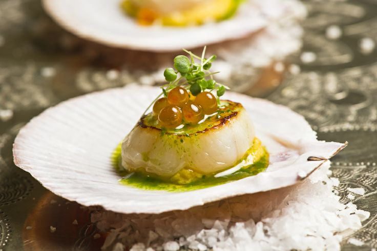 Spring Racing delights... Seared hervey bay scallop - sweet corn puree, Yarra Valley salmon caviar & parsley oil #MelbourneCupCarnival2013 #food #canapes #glutenfree