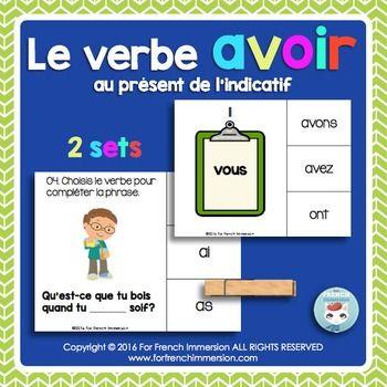 Verbe AVOIR - FRENCH Clip Cards - au présent de l'indicatif