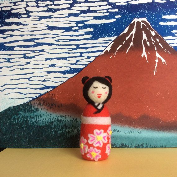 Mieko Needle felted japanese style kokeshi doll. by SweetPeaDolls