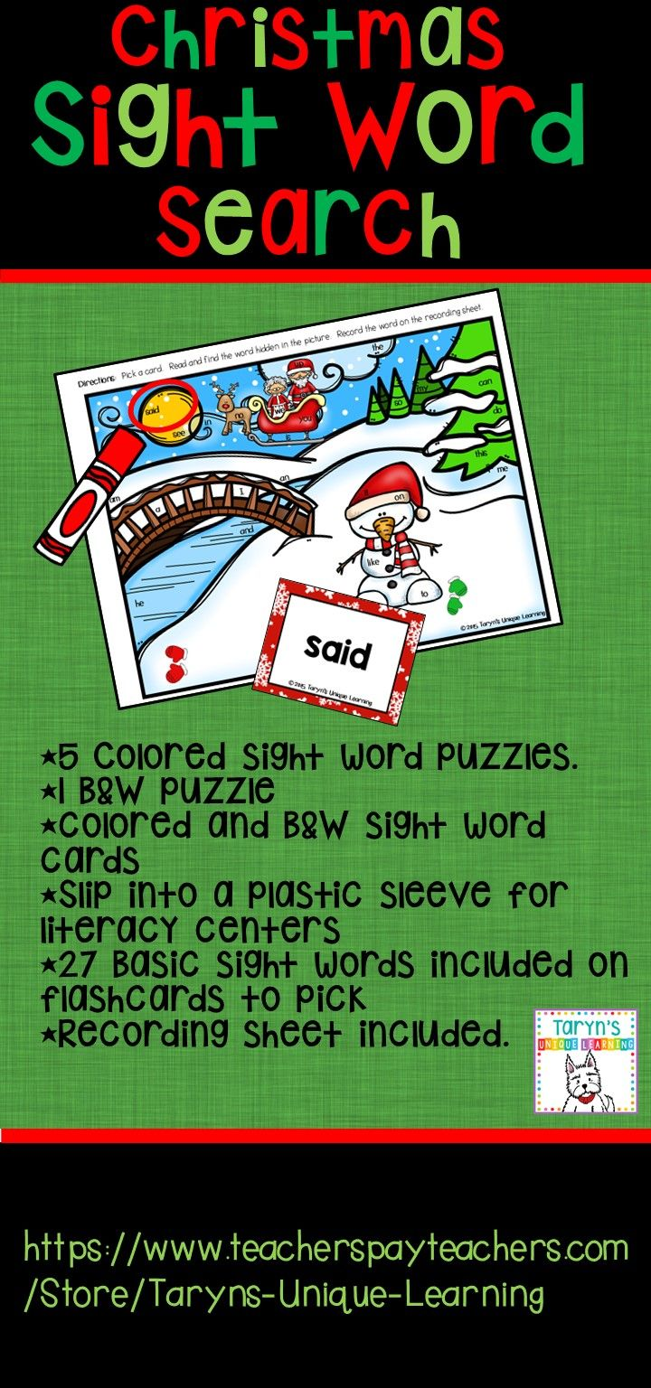 Sight words are so fun to teach and now you can have some extra fun in December.  5 different colored puzzles and 1 B&W picture are included with basic sight words hidden within the pictures. Your students draw a card from the pile and look in the picture for that word.  Circle it with a pencil or marker after reading and finding the word. Great for small group, whole group, literacy centers, or Daily 5.  Slip into a plastic sleeve for reusing for centers.  Or copy for your students.  Flexible!