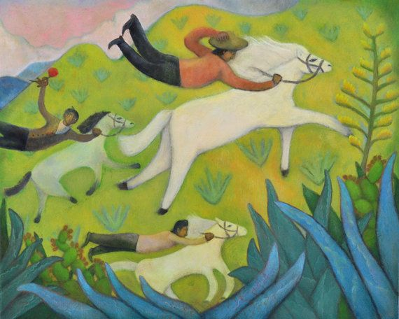Náladový Art, Mexiko Art, Ľudové umenie Maľba, jeden deň som videl mexickej Cowboys v Blue Agave Hills, 8,5 x 11, Naivné umenie, PRINT