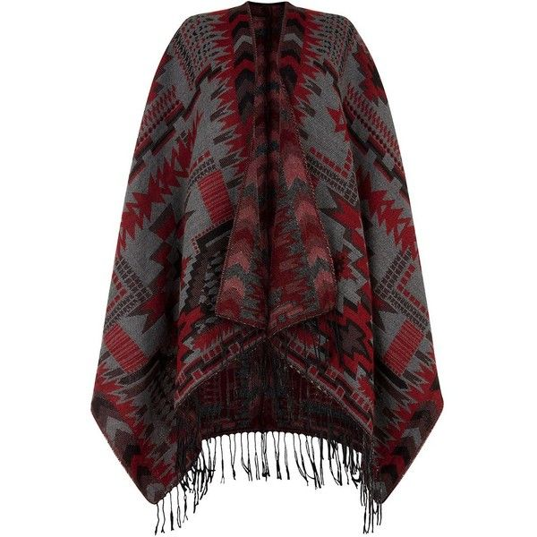 Parisan Grey Aztec Print Blanket Wrap ($14) ❤ liked on Polyvore featuring tops, cardigans, jackets, outerwear, aztec print tops, wrap top, gray top, grey top and aztec open front cardigan