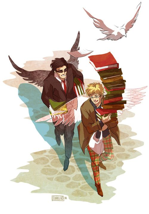 """Aziraphale and Crowley from """"Good Omens"""". Though Aziraphale being a klutz and Crowley catching the books as they fell turned more into Crowley being like """"WTF WHY AM I CARRYING YOUR BOOKS LOOK AT THIS ONE IN MY HAND LOOK"""" and Aziraphale being like """"You are such a dear"""" OTL"""