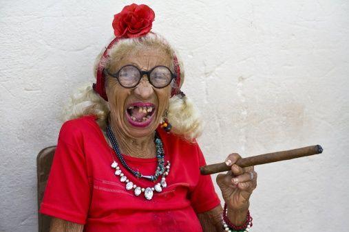 Cuba Old woman smoking cigar