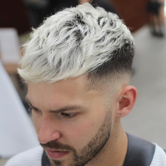 Textured Blonde hair color for men