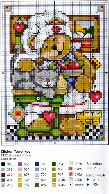 Punto croce - Schemi e Ricami gratuiti: Schema punto croce per bambini: teneri orsetti