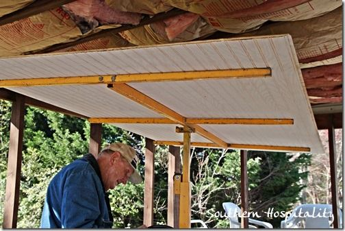 Upgrading covered porch/patio by adding the Beadboard Ceiling, via Southern Hospitality. Renting a drywall jack is a superb idea. using the jack