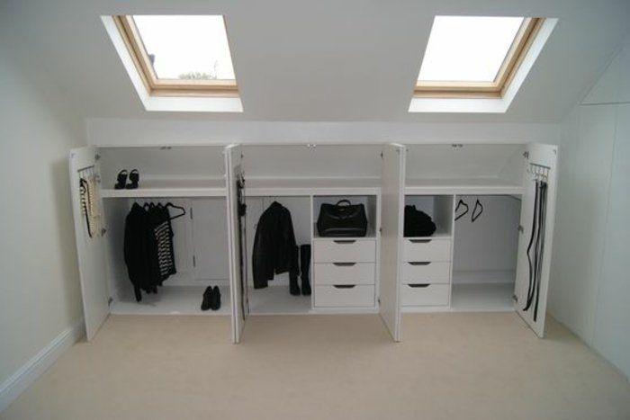 meuble sous pente bas, des placards, munies de penderie, tiroirs, idée comment