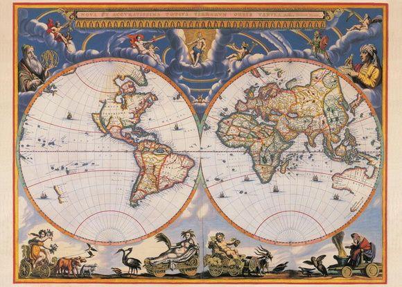Pôster Mapa do mundo do século 17 - Originalmente esta gravura foi feita de cobre com revestimento de ouro nas assinaturas  Ano de 1662 - Autor Joan Blaeu - Van der Hem - Fonte Novus Atlas Blaeu, Amsterdam.