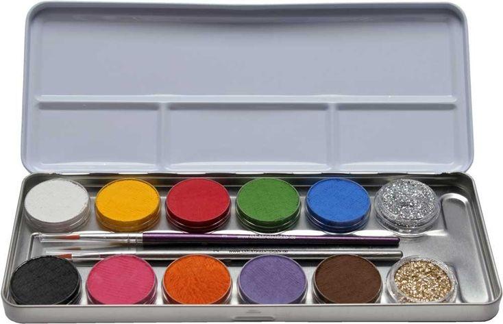 Eulenspiegel Schminkpalette aus Metall, 2 Glitzer, 2 Pinsel, 10 Farben, Fasching, Karneval, Feiern