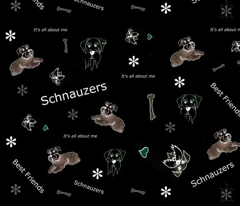 Standard Schnauzer Black  fabric by forestwooddesigns on Spoonflower - custom fabric