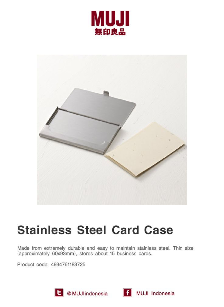 [Business Card Case series] Made from stainless steel, extremely durable & easy to maintenance. Stores about 15 cards.