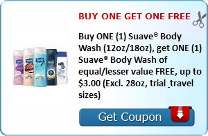New Coupon! BUY ONE GET ONE FREE Buy ONE (1) Suave® Body Wash (12oz/18oz), get ONE (1) Suave® Body Wash of equal/lesser value FREE, up to $3.00 (Excl. 28oz, trial & travel sizes)! - http://www.stacyssavings.com/new-coupon-buy-one-get-one-free-buy-one-1-suave-body-wash-12oz18oz-get-one-1-suave-body-wash-of-equallesser-value-free-up-to-3-00-excl-28oz-trial-travel-sizes/
