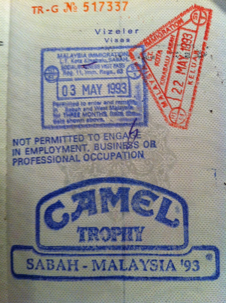 my passport with special camel trophy custom stamp