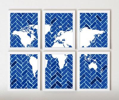 World Map On Chevron In Navy Fresh Blue In 6 By Thirdfloordesign