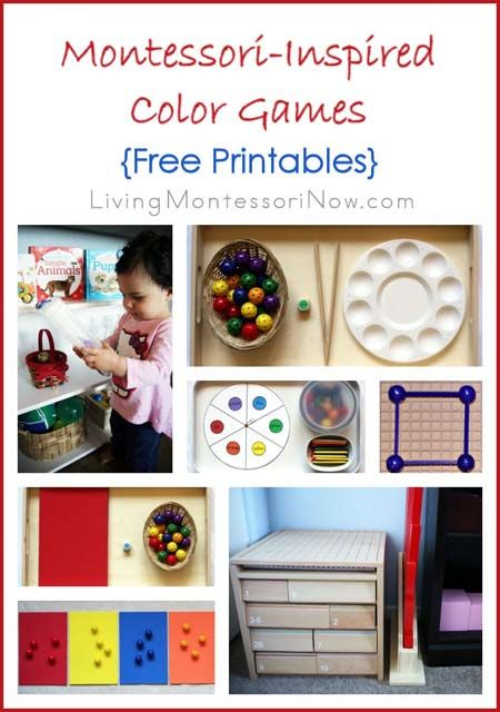 Montessori-inspired color games for preschoolers with links to free printables for creating color games. Ideas for using the new version of Spielgaben educational toys for color games.