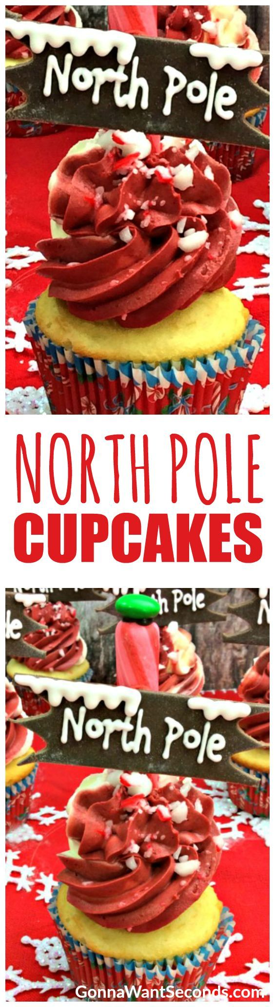 These charming, cheery North Pole Cupcakes are probably the first thing Santa eats to restore his energy after a long Christmas Eve. A fancy, flavorful cupcake supports a giant, snowy drift of peppermint frosting with a cute little sign directing everyone to the place where all the magic happens!