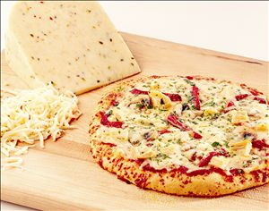 Happiness is...pizza with lots of cheese. :) Pin this 'Chicken Pizza with Pepper Jack Cheese' made with Stella® Cheeses.