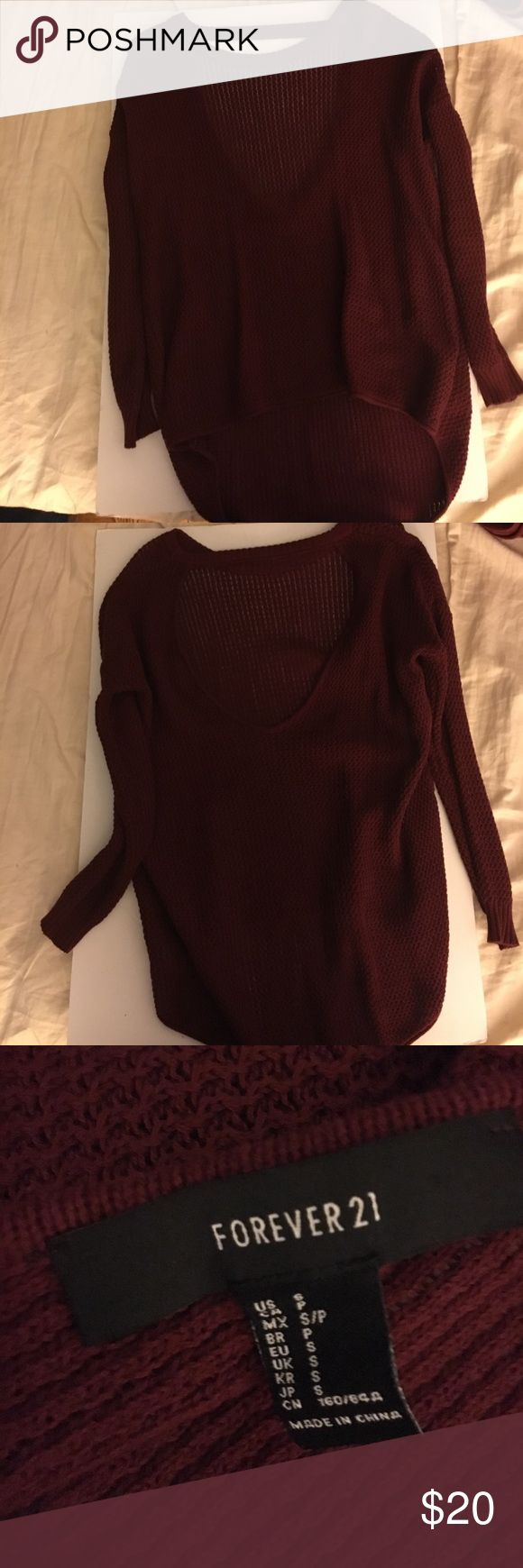 Forever 21 burgundy red sweater Forever 21 burgundy red knit sweater, cutout on the back, size Small never worn Forever 21 Sweaters