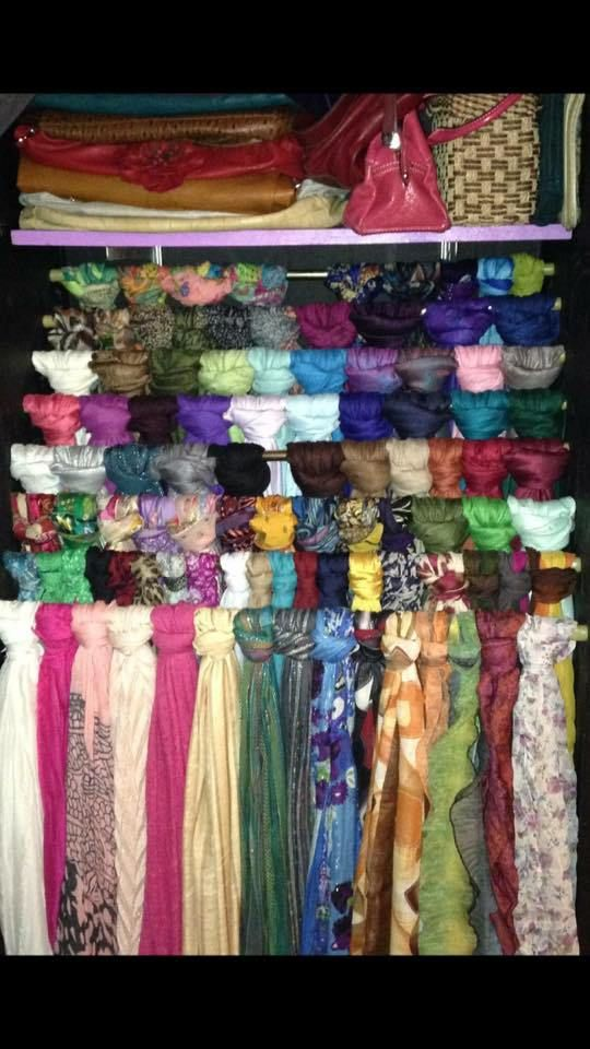 blog post with tones of ideas for storing scarves/tichels