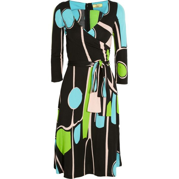 Issa Wrap-effect crepe-jersey dress ($245) ❤ liked on Polyvore featuring dresses, black, drape wrap dress, loose dresses, loose fitted dresses, jersey wrap dress and multi colored dress
