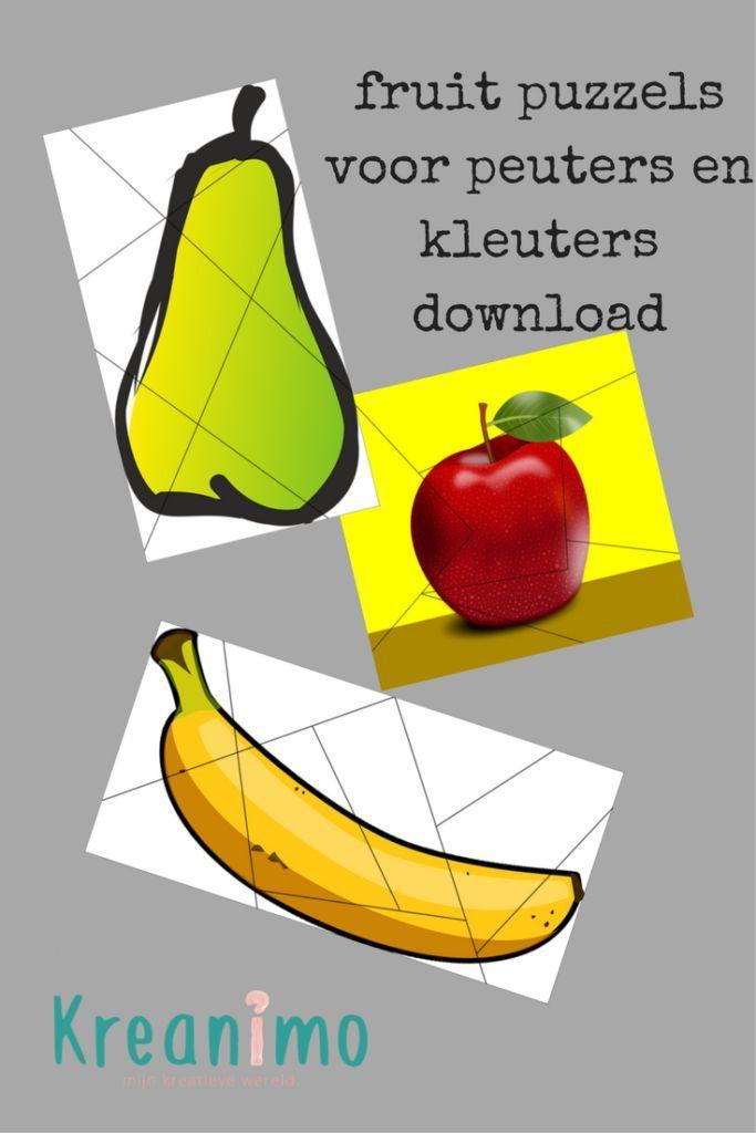 Fruit puzzels voor peuters en kleuters om zelf te maken. http://blog.kreanimo.com/fruit-puzzels-voor-peuters-en-kleuters/
