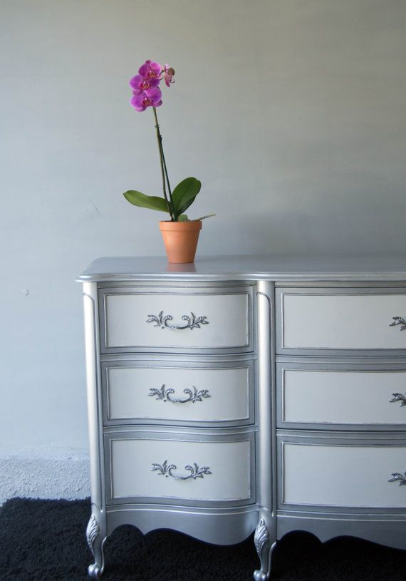 SOLD  Glamorous Silver Dresser  SOLD by MaryBethsPlace on Etsy