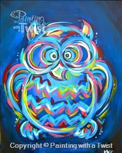 Neon Owl-Family Day 7 & up! - Fort Worth West, TX Painting Class - Painting with a Twist