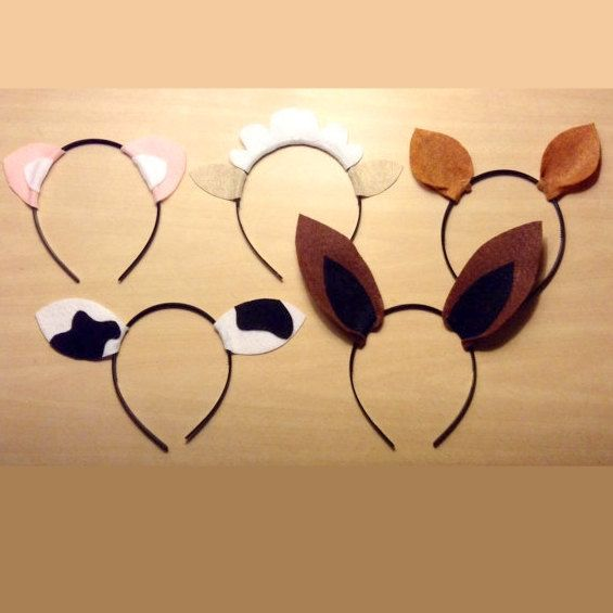 You will receive 1 of each of the following: pig, sheep, horse, cow, donkey ears headband. You may also pick and choose the desired animals. Color