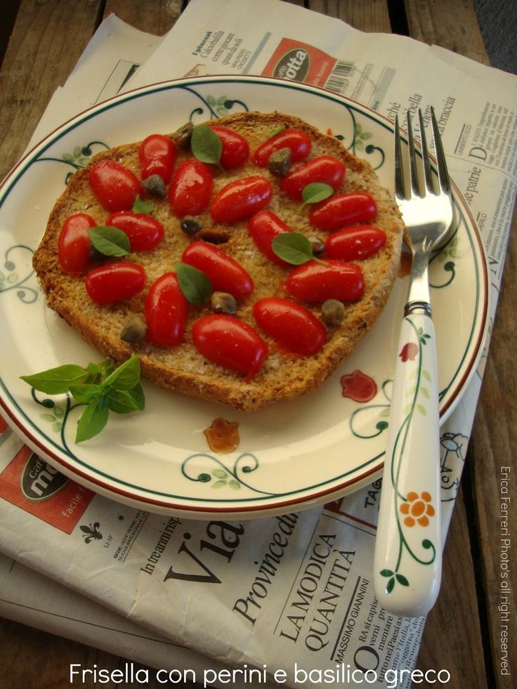 frisella with perini and Greek Basil    Frisella: a typical southern Italian bread!  -   frisella con perini e basilico greco