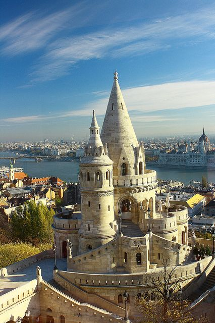 Fisherman's Bastion on the Buda bank of Danube, Budapest