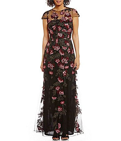 David Meister Cap Sleeve Aline Floral Embroidery Gown #Dillards