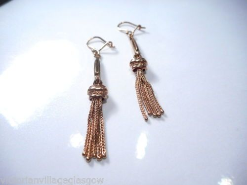 FINE VICTORIAN 9CT ROSE GOLD TASSLE EARRINGS | eBay