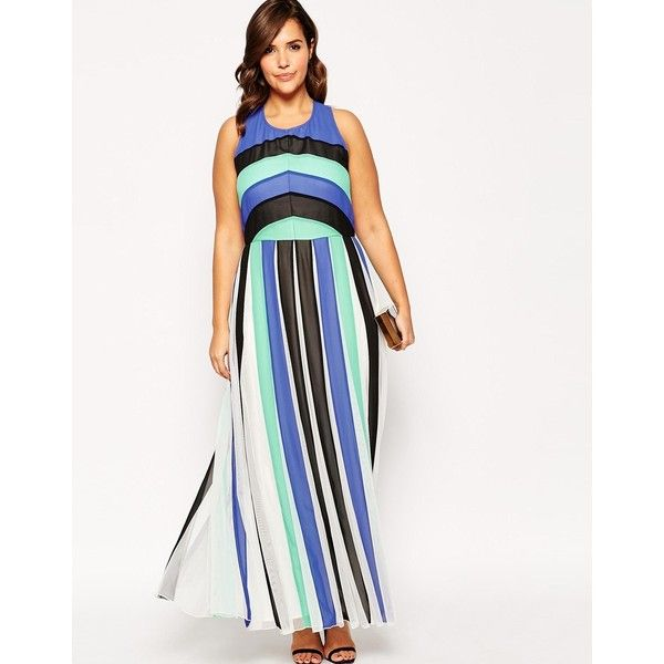 ASOS CURVE Maxi Dress In Color Block Mesh ($39) ❤ liked on Polyvore featuring dresses, womens plus size maxi dresses, plus size maxi dresses, white strappy dress, mesh maxi dress and women's plus size dresses