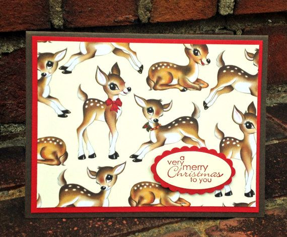 OOAK Stampin Up Reindeer Deer Christmas Card w/ by DesignedToAT