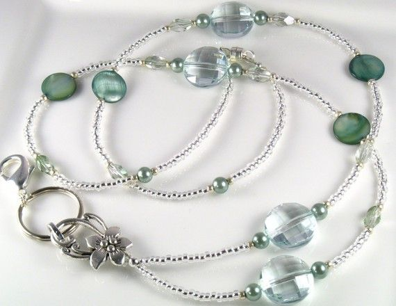 Beaded Lanyard SAGE CRYSTALS id badge holder  aqua by curlynetto, $19.99