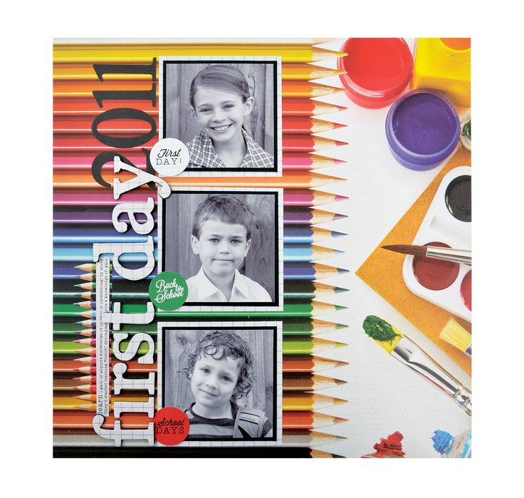First Day - Scrapbook.com - Made with Kaisercraft's vibrant 2 Cool 4 School collection.