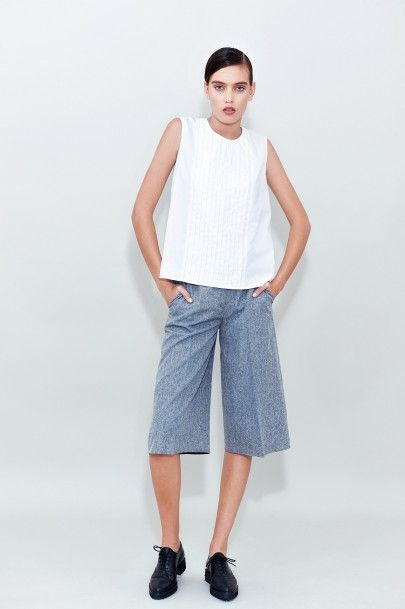 Cotton Pleated Top Grey Cropped Pants