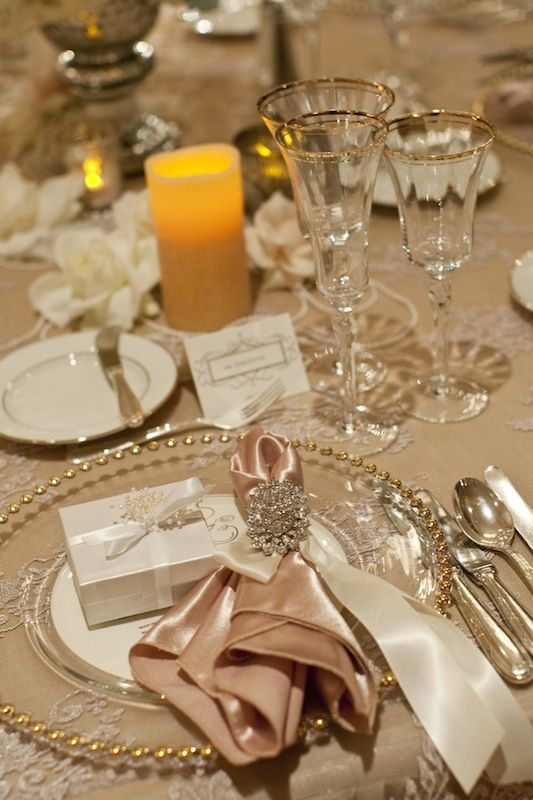 The Essence of Elegance. Special touches: the sheen of the satin napkin and ribbon... the glistening silverware, glassware and plate trim is amplified by the rhinestone napkin ring.