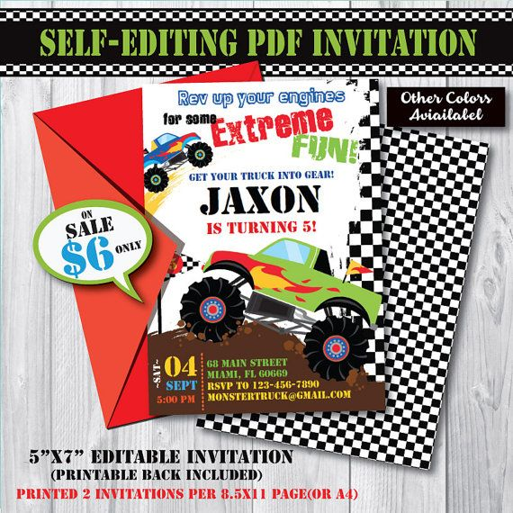 Instant Download Self-Editing Monster Truck Birthday Invitation-Editable PDF File-Printable Monster Truck Party Invite-First Birthday Monster Truck Invitation-Any Age Birthday.  ☛Self-Edit on your computer with the latest version of Adobe PDF Reader by yourself.  ☛Files can be edited for you with an extra fee: https://www.etsy.com/listing/455301048  ☛ON SALE!  No More waiting Time! Instant Download. PRINT AS MANY AS YOU WANT!! =======&#x3...