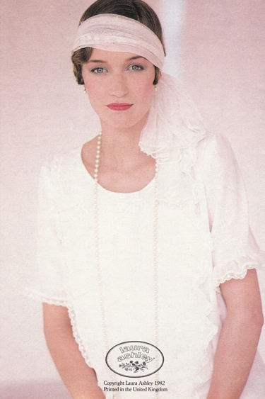 laura ashley wedding photo print ad 80s does 20s 30s white dress headband
