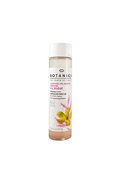 Bryan Barron - The Must-Have Products For The Holiday    This gentle, fragrance-free formula removes all types of makeup.  Boots Botanics All Bright Soothing Eye Make Up Remover, $6.29, available at Ulta.