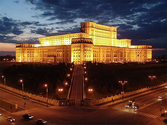 Palace of the Parliament,  the second largest building on the planet, after the Pentagon. It has 1,100 rooms designed in an eclectic neoclassical architectural style. Bucharest