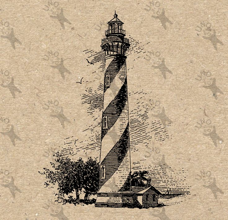 Vintage Lighthouse light tower storm image Instant Download printable Antique drawing clipart digital graphic Transfer burlap paper HQ300dpi by UnoPrint on Etsy