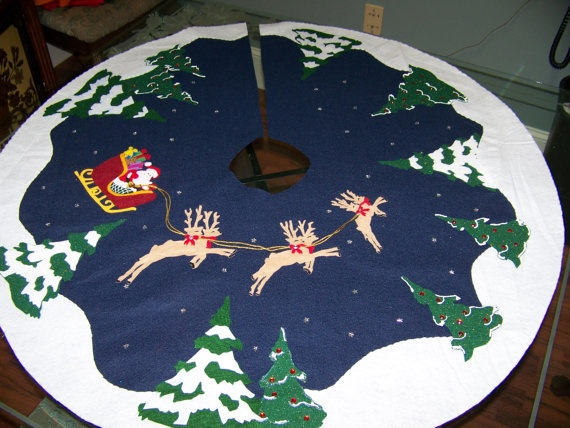 Handmade Christmas tree skirt